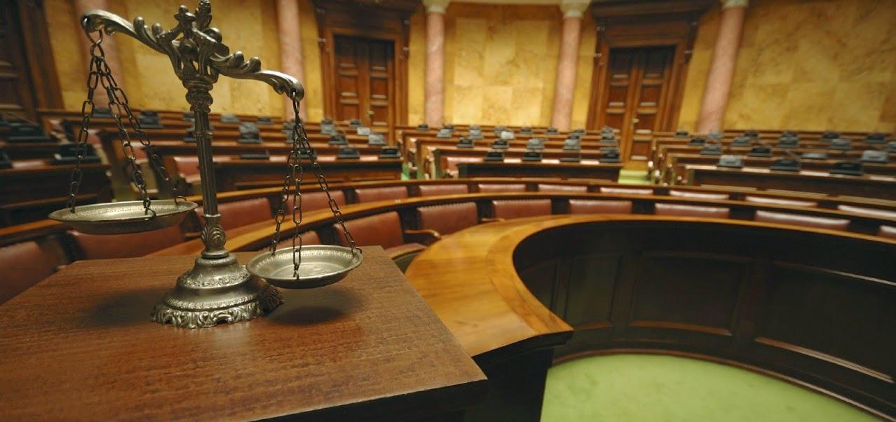 overlooking courtroom floor